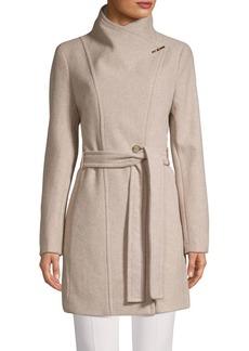 Calvin Klein Wool-Blend Wrap Coat