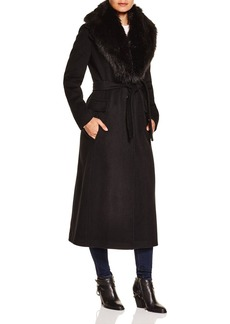 Calvin Klein Wrap Coat with Faux-Fur Trim