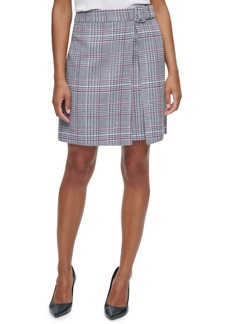 Calvin Klein X-Fit Belted Plaid Mini Skirt