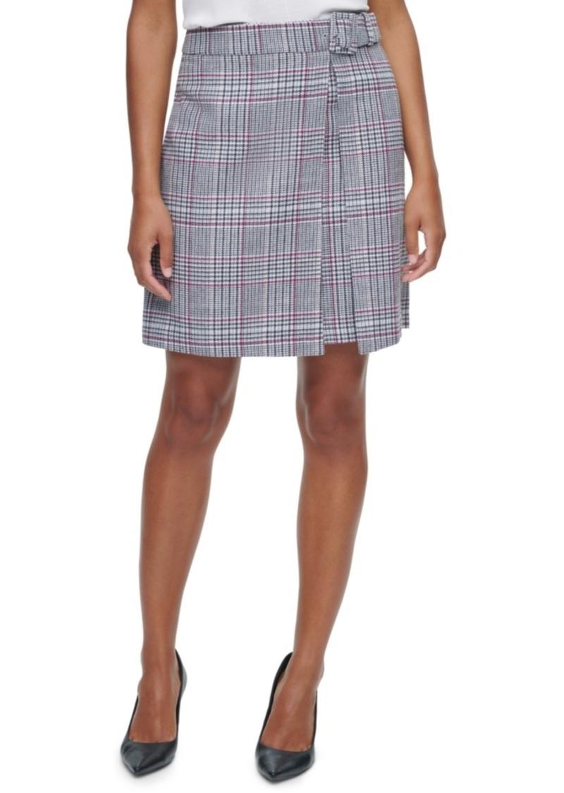 Calvin Klein X-Fit Belted Plaid Mini Skirt