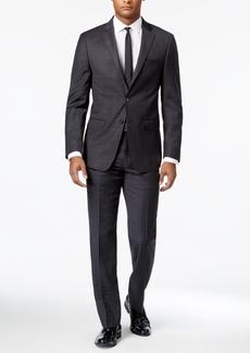Calvin Klein X-Fit Men's Charcoal/Dark Brown/Blue Windowpane Slim Fit Suit