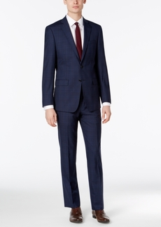 Calvin Klein X-Fit Men's Dark Blue Plaid Slim Fit Suit