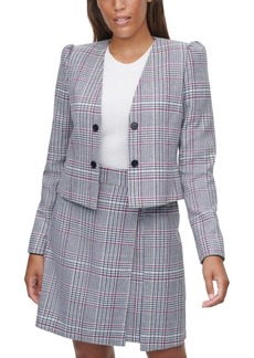 Calvin Klein X-Fit Plaid Cropped Jacket