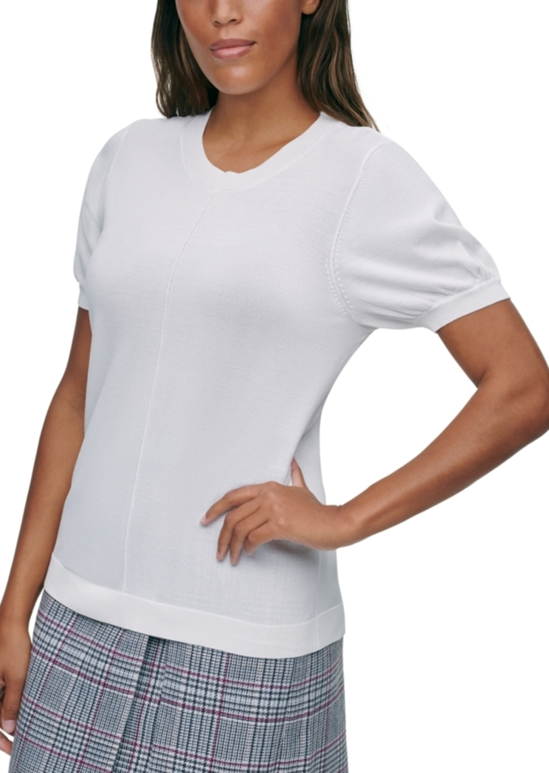 Calvin Klein X-Fit Puff-Sleeve Sweater Top