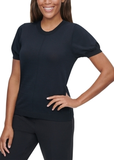 Calvin Klein X-Fit Puff-Sleeve Sweater Top