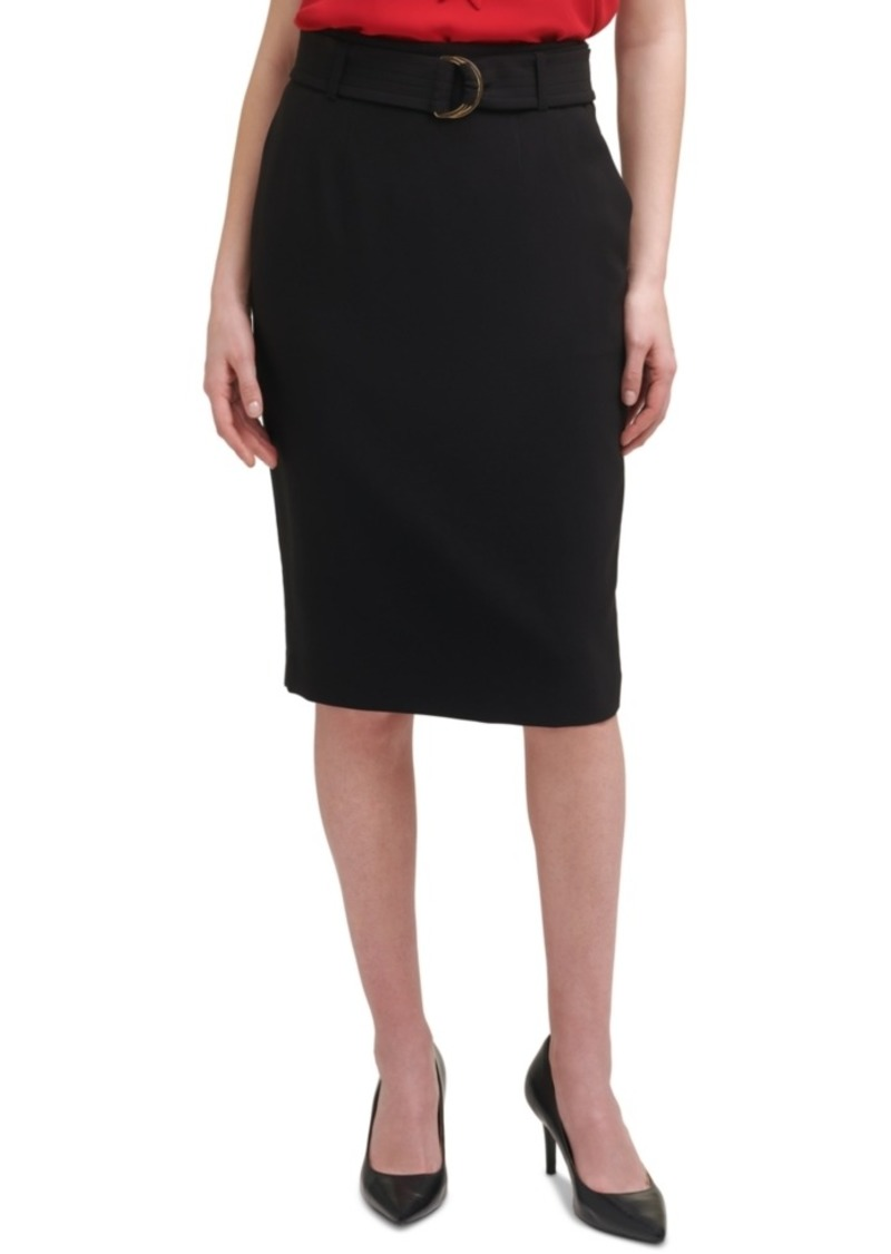 Calvin Klein X-Fit Belted Knee-Length Pencil Skirt