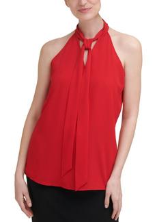 Calvin Klein X-Fit Solid Sleeveless Tie-Neck Halter Top