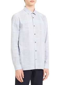 Calvin Klein Yarn-Dye Blown-Up End-on-End Cotton Plaid Shirt