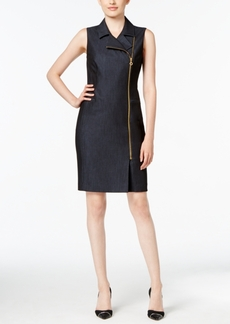 Calvin Klein Zip-Front Denim Sheath Dress