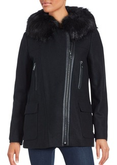 Calvin Klein Wool-Blend & Faux Fur-Trimmed Coat