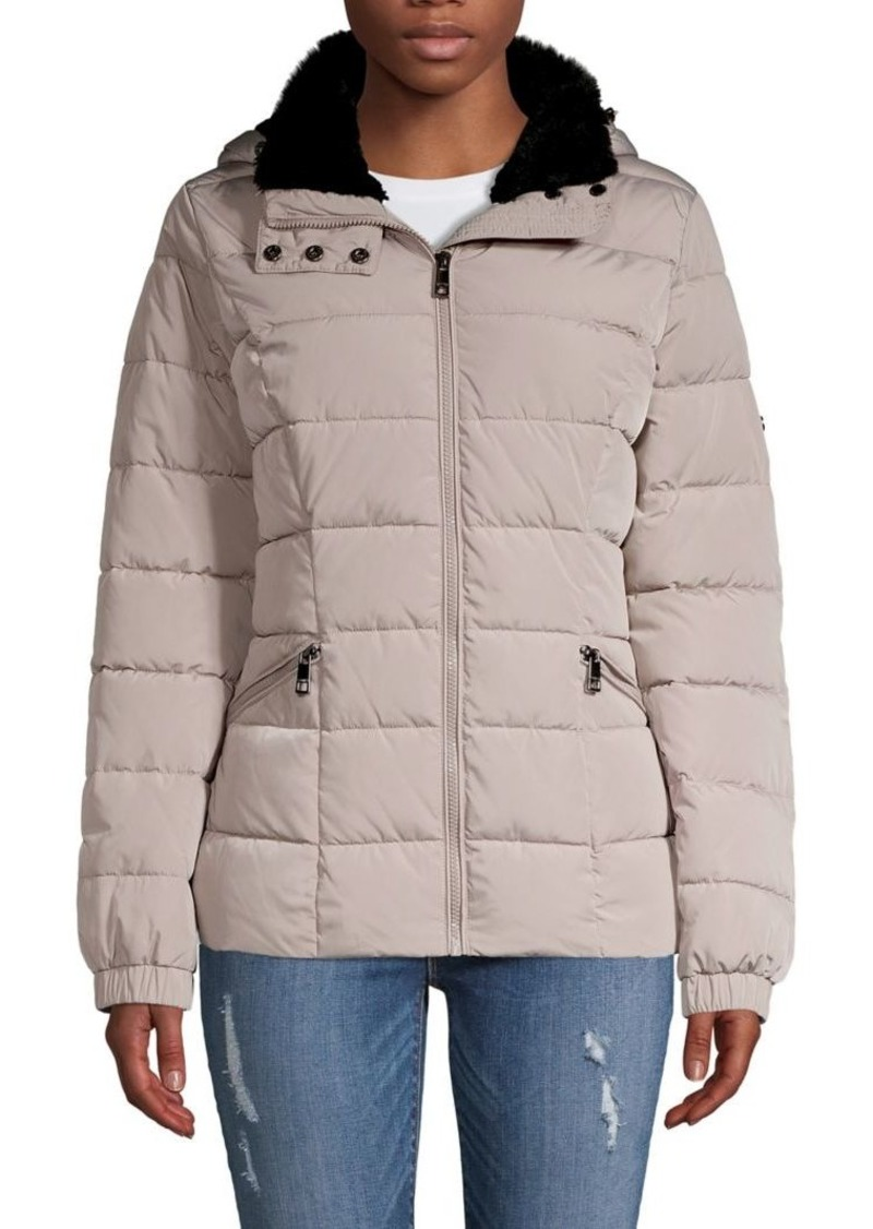 Calvin Klein Zip-Front Puffer Faux Fur Coat