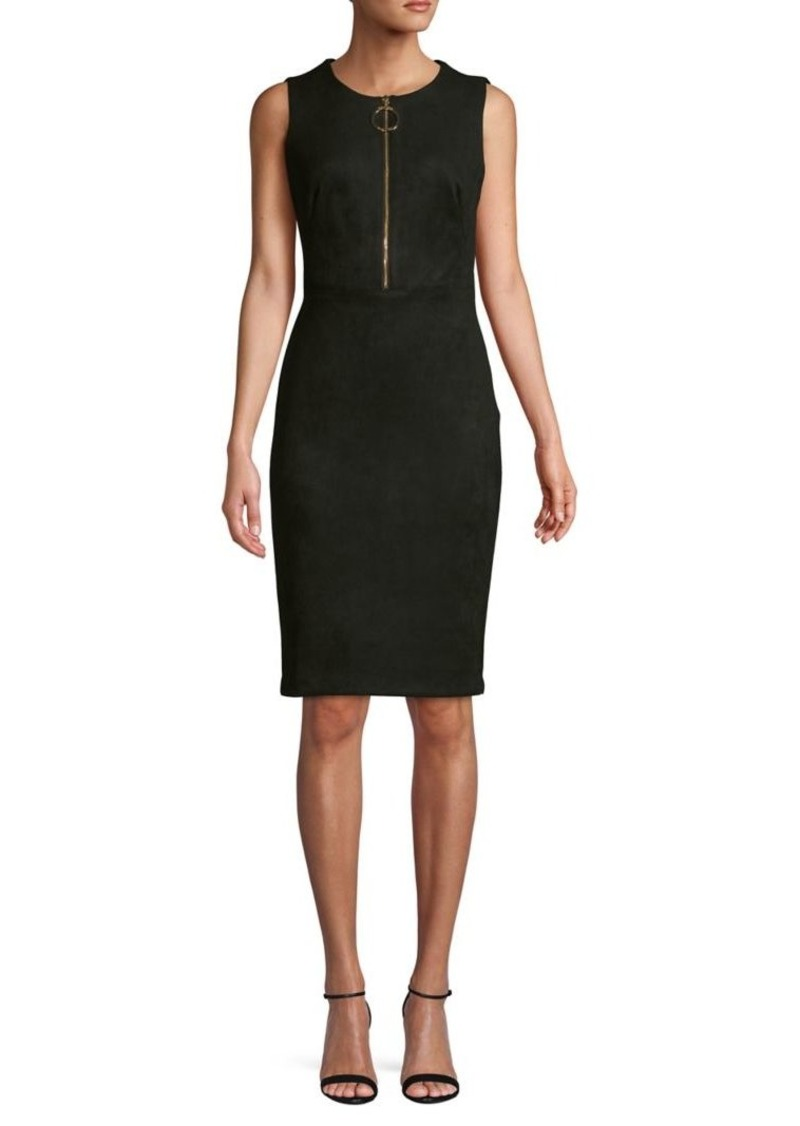 Calvin Klein Zip-Front Stretch Faux Suede Sheath Dress