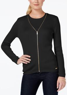 Calvin Klein Zip-Front V-Neck Cardigan
