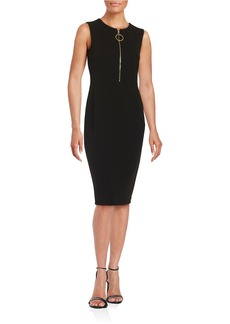 CALVIN KLEIN Zip-Placket Sheath Dress
