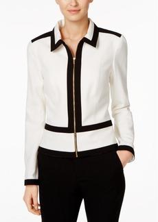 Calvin Klein Zip-Up Contrast-Trim Blazer