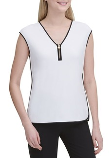 Calvin Klein Zipped V-Neck Blouse