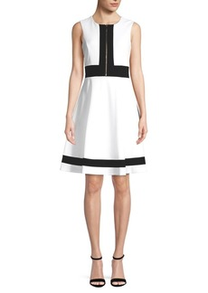 Calvin Klein Zipper Front Fit-&-Flare Dress