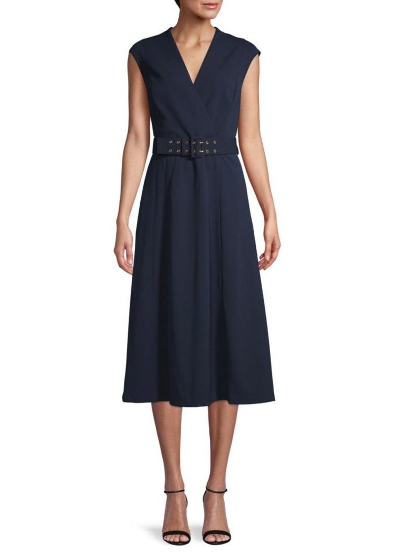 Calvin Klein Cap-Sleeve Belted Dress
