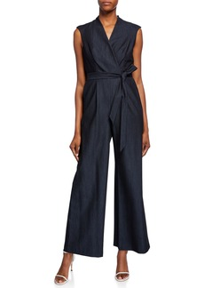 Calvin Klein Cap-Sleeve Wide-Leg Belted Jumpsuit