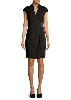 Calvin Klein Cap-Sleeve Wrap Dress