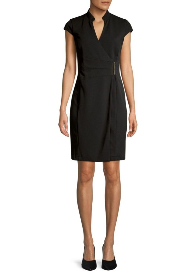 Calvin Klein Cap-Sleeve Wrap Dress