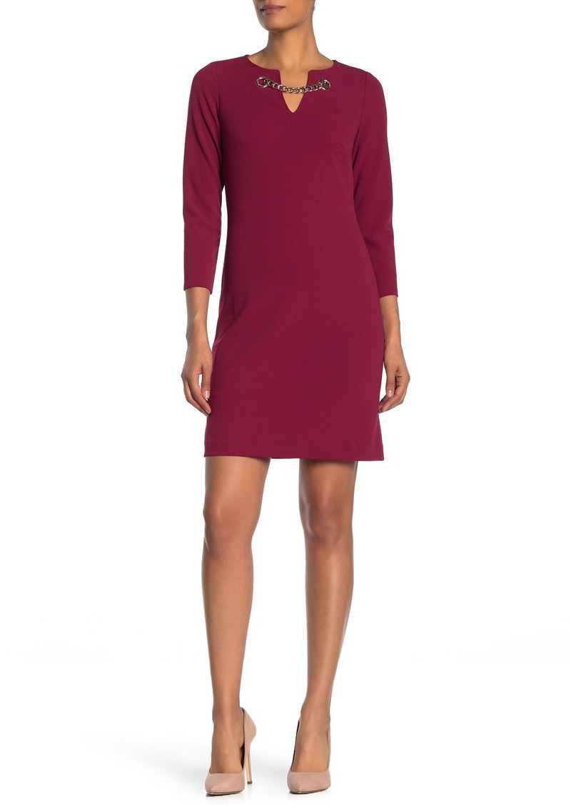 Tommy Hilfiger Chain Accent Long Sleeve Sheath Dress