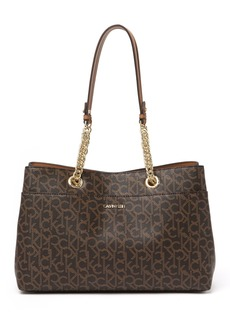 Calvin Klein Chained Monogram Leather Tote Bag