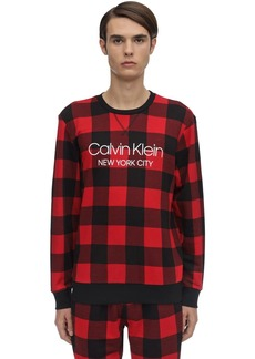 Calvin Klein Check Cotton Blend Pajama Sweater
