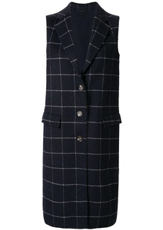 Calvin Klein check double weave long coat