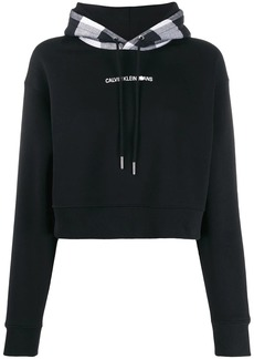 Calvin Klein check-panelled hoodie