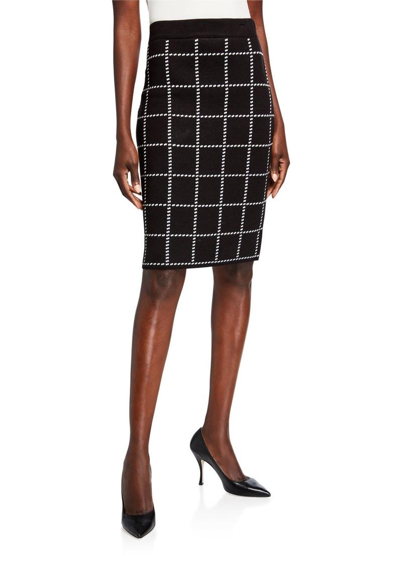 Calvin Klein Check Pencil Sweater Skirt