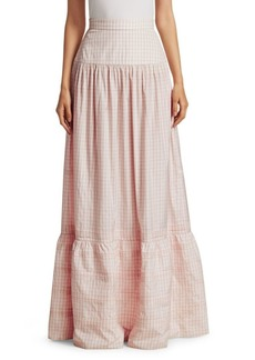 Calvin Klein Check Silk Long Skirt