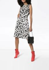 Calvin Klein Cheetah print brooch embellished sleeveless midi dress