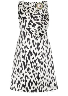 Calvin Klein Cheetah print brooch embellished sleeveless midi dress
