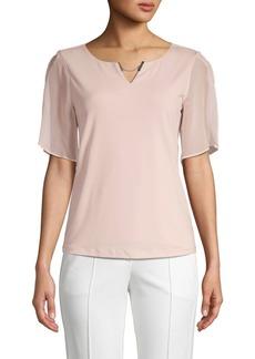 Calvin Klein Chiffon-Sleeve Top