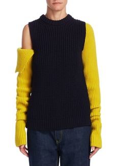 Calvin Klein Chunky Cold Shoulder Wool Sweater
