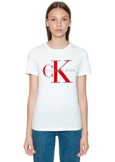 Calvin Klein Ck Flocked Logo Cotton T-shirt