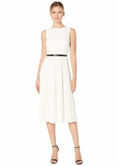 Calvin Klein CK Logo Belt Pleated Dress