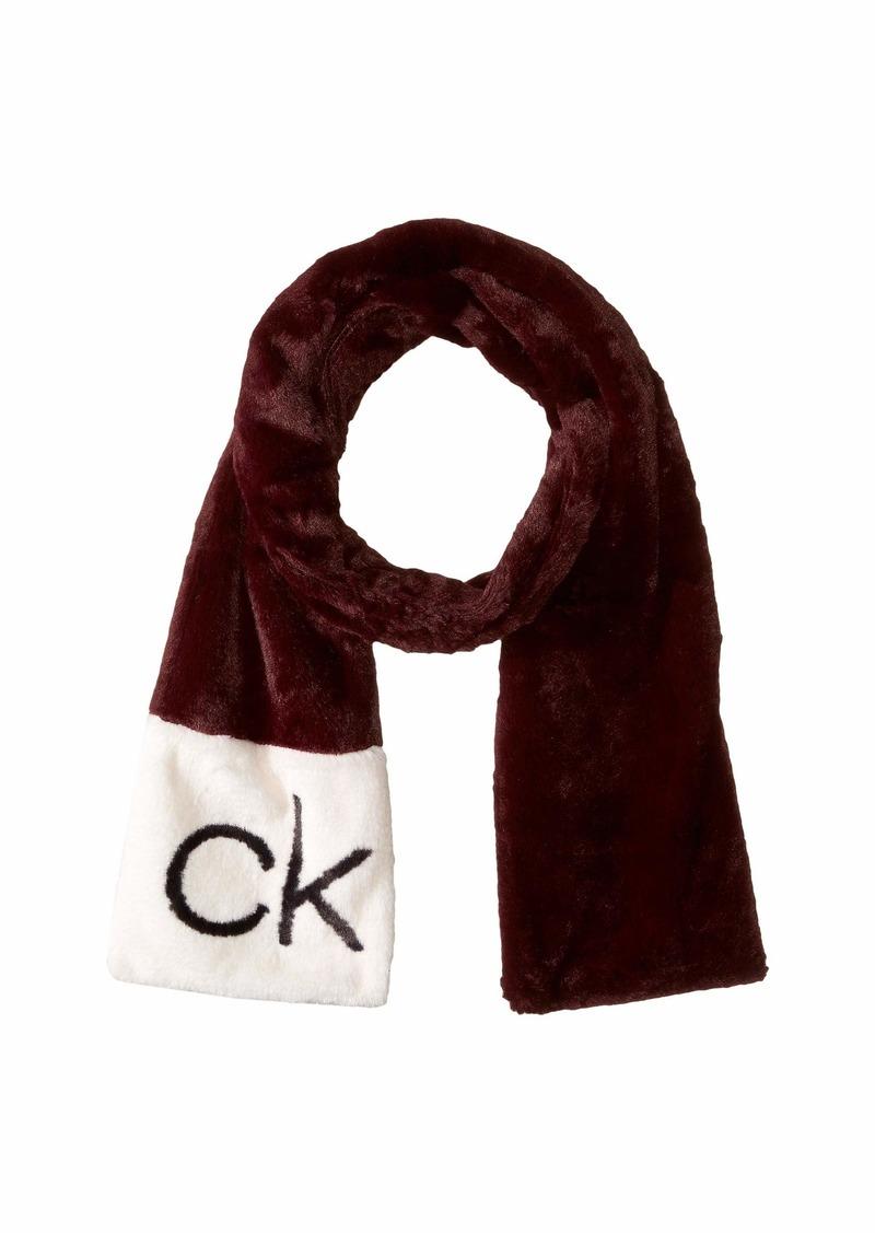 Calvin Klein CK Logo Faux Fur Scarf