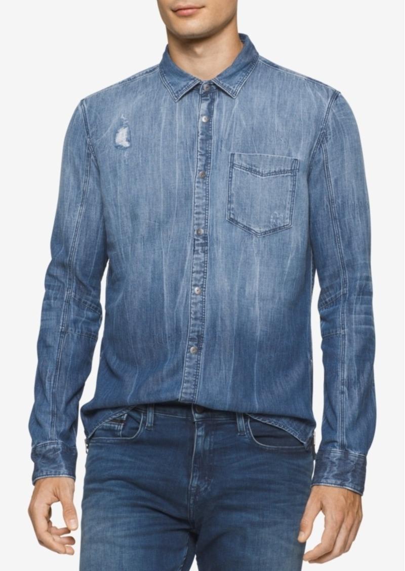 Calvin Klein Clavin Klein Jeans Men's Ripped and Repaired Denim Shirt