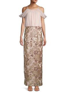 Calvin Klein Cold Shoulder Chiffon Gown