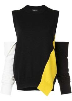 Calvin Klein cold-shoulder panelled sweater