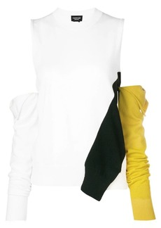 Calvin Klein cold-shoulder removable sleeve sweater