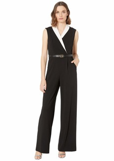 Calvin Klein Color-Block Collar Belted Jumpsuit