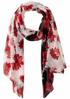 Calvin Klein Color Block Floral Poly Chiffon Scarf