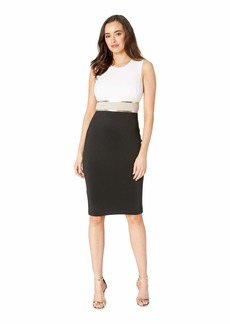 Calvin Klein Color Block Sheath Dress with Metallic Trim Waist CD9M14KT