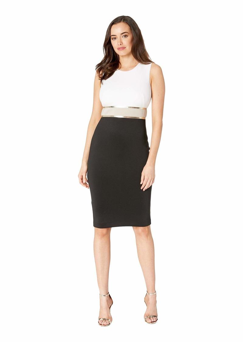 Calvin Klein Color Block Sheath Dress with Metallic Trim Waist CD9M14KT