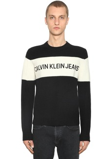 Calvin Klein Color Block Wool Knit Sweater