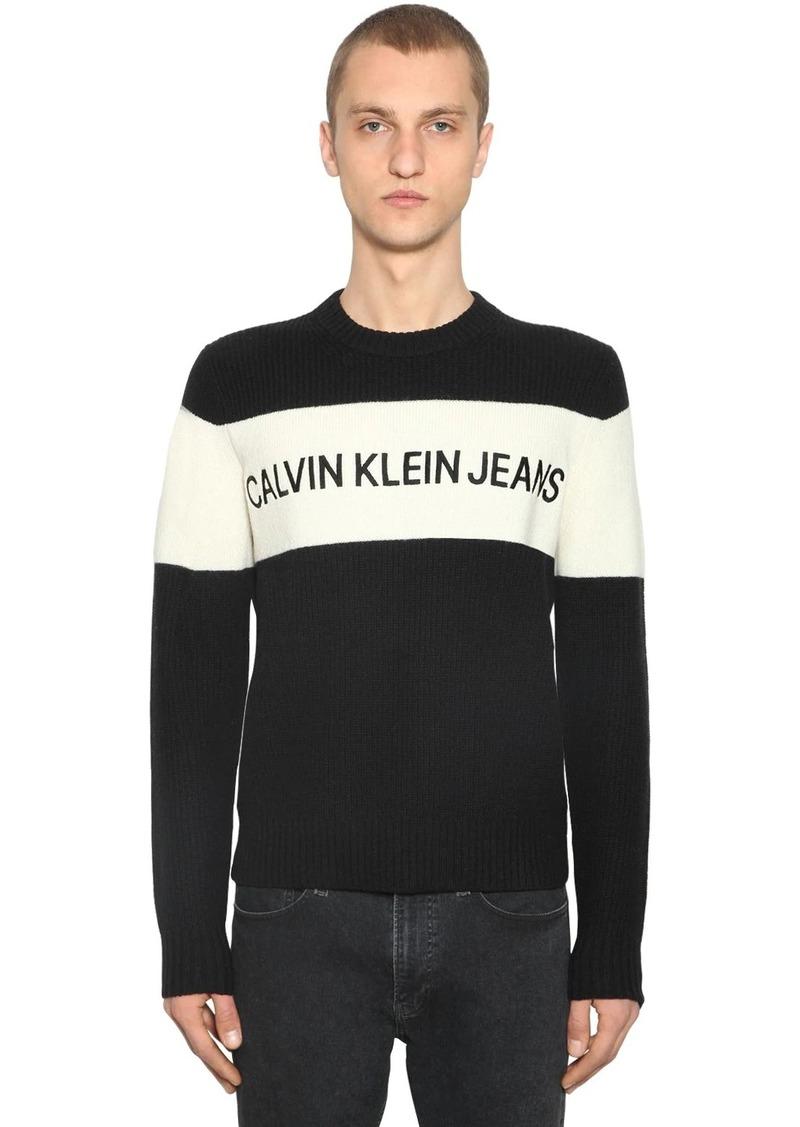 Calvin Klein Color Block Wool Knit Sweater