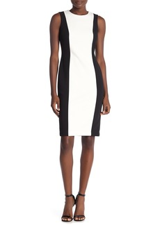 Calvin Klein Colorblock Sleeveless Crepe Sheath Dress
